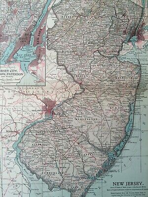 1903 New Jersey Original Antique Map United States Jersey City Newark Paterson