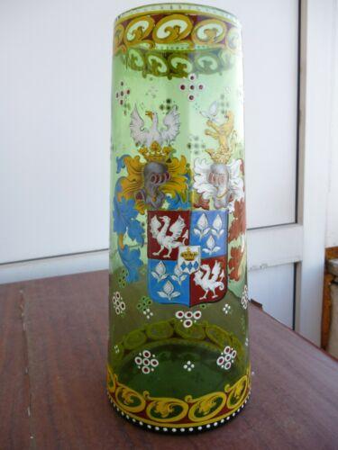antique enamel glass vase-ANTON AMBROS EGERMANN 1880-marked genuine,very rare.