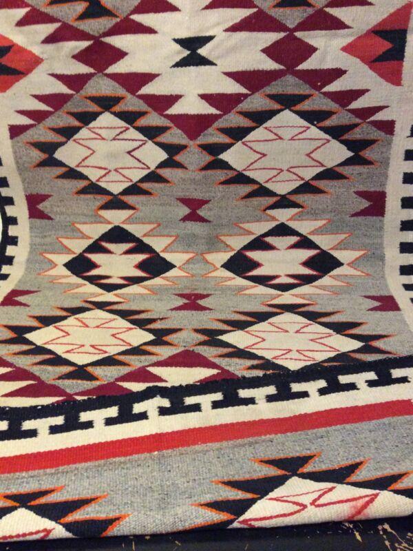 Navajo Rug Teec Nos Pos Native American Indian Antique Red Mesa Weaving Textile