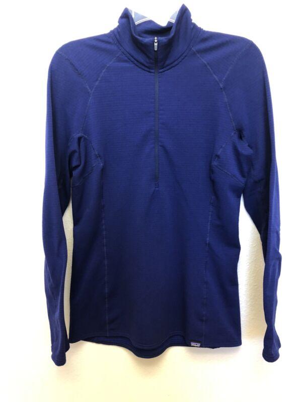 Patagonia Womens Royal Blue Half Zip Pullover Thermal Waffle Medium Capilene