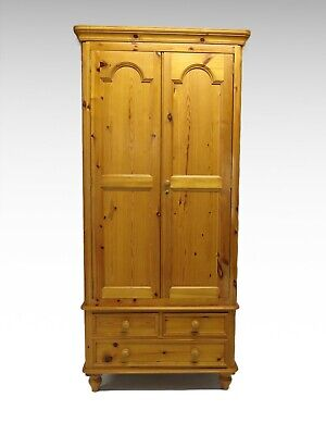 Pine double wardrobe with 3 drawers #2492