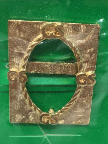 GIRL SCOUTS GSA Pin Picture Frame Gold Tone NEW