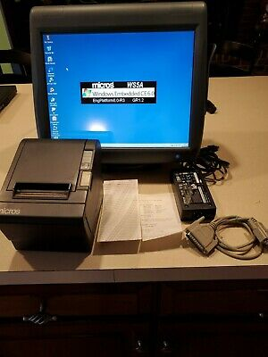 Micros Ws5a W Rear Display Pos Monitor Epson Tm-t88ii Idn Thermal Printer Stand