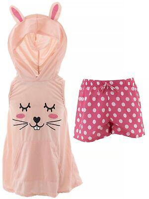 dELiA*s Girls Bunny Coral Pink Character Face Hooded Short Sleeveless Pajamas