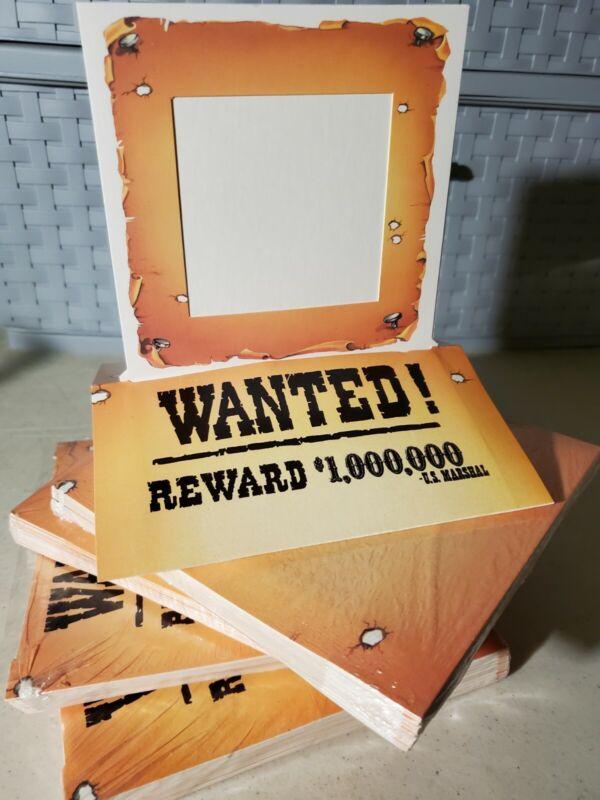 40Lot Western Wanted Reward Pop Up Photo Frames Cowboy Cowgirl Wild West Parties