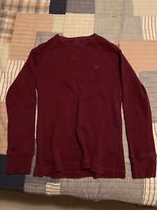 Burgundy American Eagle Crew Neck Sweater