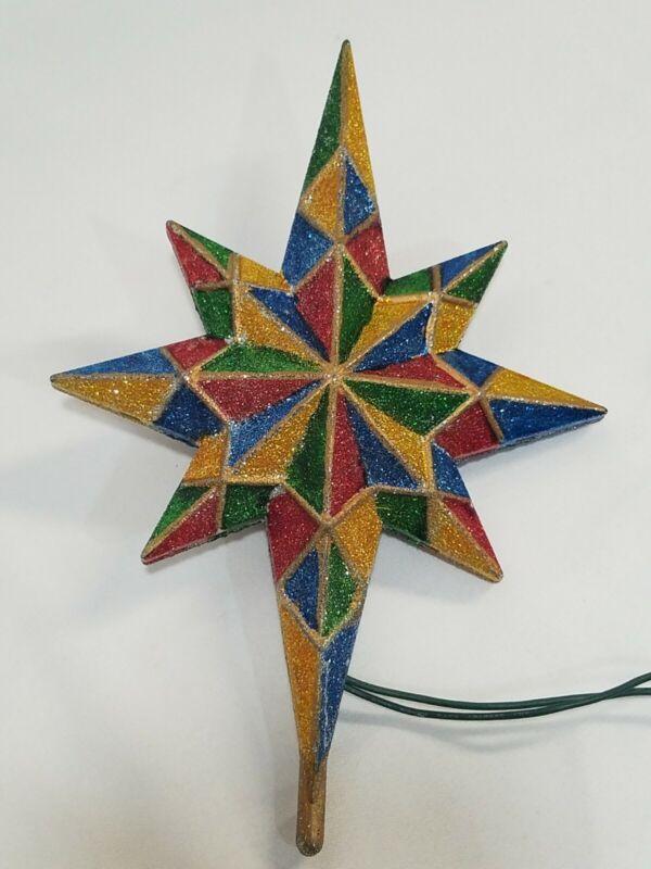 Vintage Metallic Multi Colored Plastic Star Christmas Tree Topper 8 Point WORKS