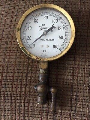 Vintage Brass Viking Air Pressure Gauge Steampunk with brass valve
