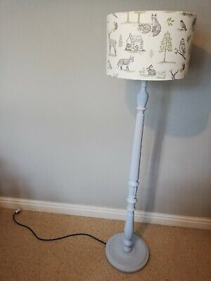 Upcycled Vintage Floor Lamp With Handmade Woodland Lampshade