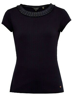 New Ted Baker Frill Neck Fitted Tee Top Size Uk 6-14