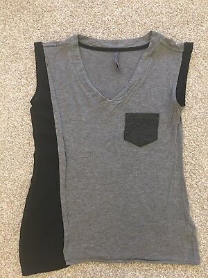 Karen Millen Grey With Black Sheer Panel Top Size UK6 ()