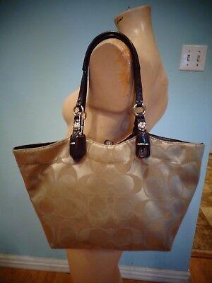 COACH Beige shiny Cotton /Brown Patent Leather Trim Medium Tote EUC