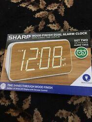 SHARP Wood Finish Dual Alarm Clock With Jumbo Time Display Electric *SHIPS FREE*