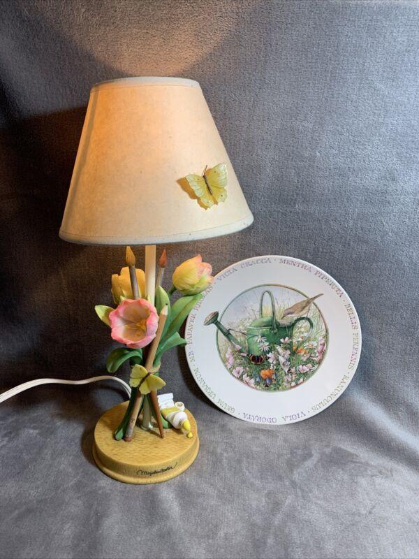 Vintage Marjolein Bastin Natures Sketchbook Tulip & Pencil Lamp & Plate Hallmark