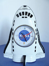 NASA Space Shuttle Shape Porcelain Ceramic Battery Operated Table Mantle Clock