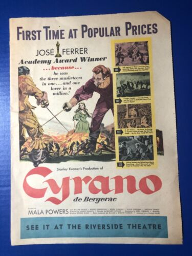"1951 ""Cyrano de Bergerac"" Jose Ferrer Mala Powers movie ad Riverside Theatre"