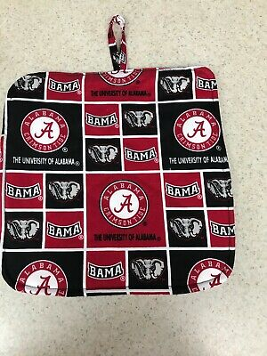 Pot Holder / Loop to Hang -  Quilted Back / University of Alabama - NCAA Linens Alabama University