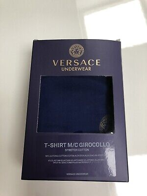 Versace Underwear Iconic Stretch Cotton T-Shirt - Blue - New