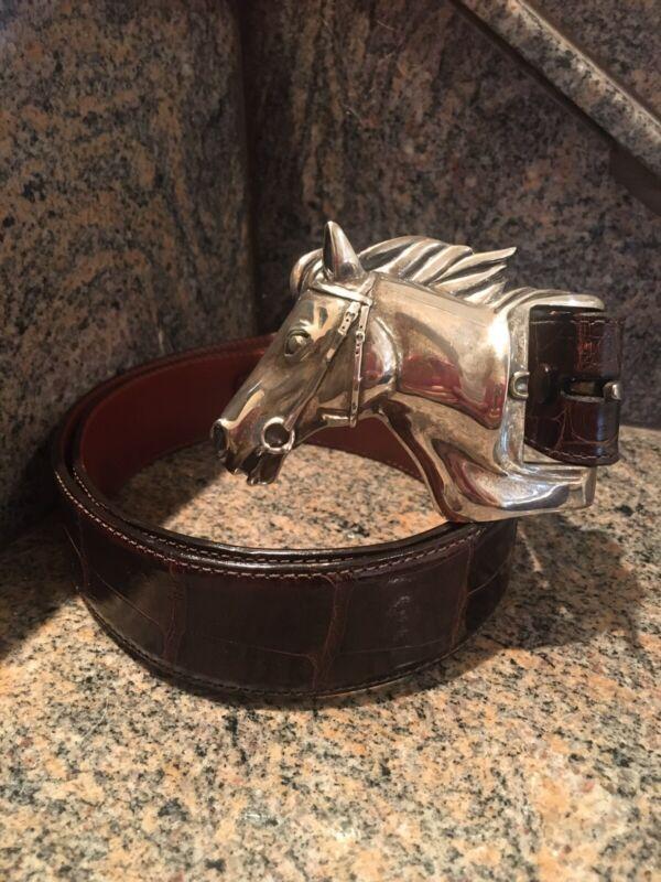 Kieselstein-Cord Stallion Horse Head Buckle and Brown Alligator Belt