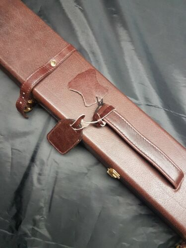 Quality 3/4 Pool Snooker 'Tower' hard cue Case Real Leather brown NEW