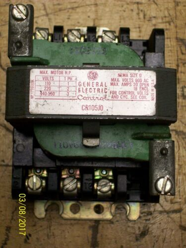 GE GENERAL ELECTRIC CONTACTOR NEMA SIZE 0 20/18 AMP OPEN/ENCL 600VAC , CR105J0