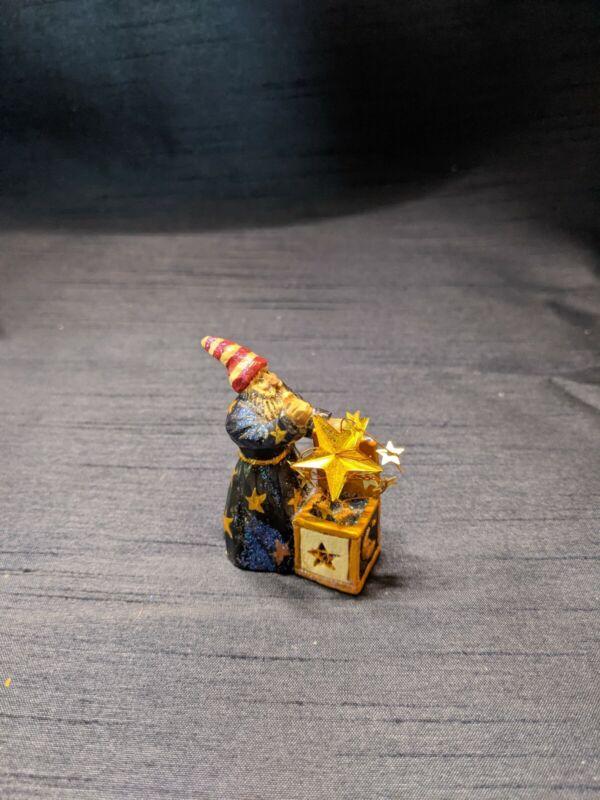 "Pam Schifferl Small Christmas Figurine Sandman Santa Dream Box Stars Midwest 2"""