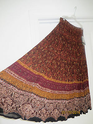 NWT NEW Jane Ashley Pleated Rayon Skirt India Bugle Beads Brown Black Tan Large