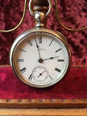 Waltham Wm. Ellery Key-wind Pocket Watch 18 size 11 jewels Coin silver case RUNS