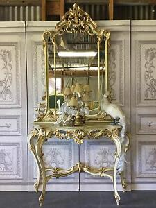 French Rococo / Italian Vintage Marble Console Table & Mirror Richmond Hawkesbury Area Preview