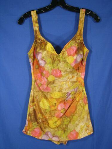 CATALINA Vintage PIN-UP BULLET BRA SWIMSUIT Swim Suit SKIRT FRONT Floral SZ 14