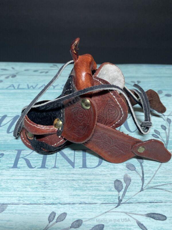 Vintage Toy Mini Leather Horse Saddle