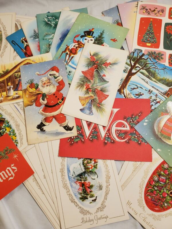 Large Vintage Lot New Old Stock Christmas Cards