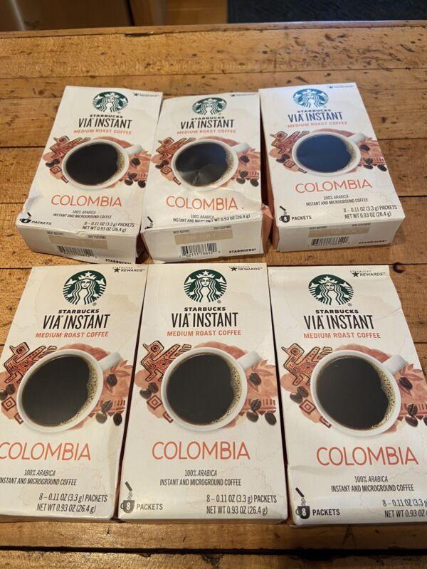48 Packets Starbucks Via Instant Columbia Medium Roast Coffee 09/2021