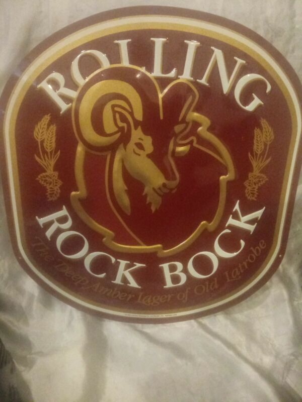 1994 ROLLING ROCK BOCK METAL BAR SIGN