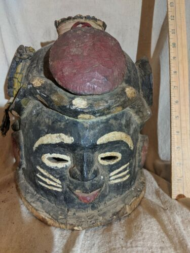 Helmet Mask with Carved Snake and Colorants — Authentic African Wood Art