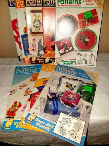 Purr-Fect Patterns For Punch Embroidery Full Size Iron On Vintage 1989 Lot of 8