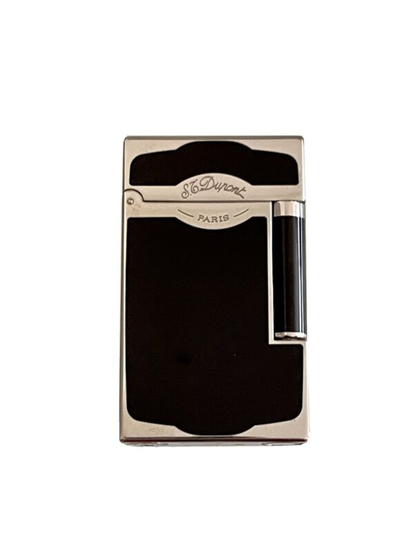 St Dupont Line 2 Cigar Lighter Black Chinese Lacquer & Palladium - Rare