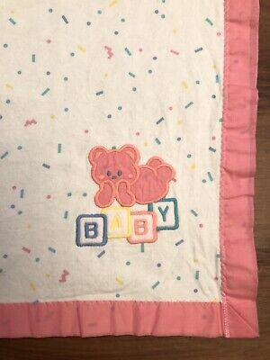 Vintage Cuddle Time Baby Blanket Pink Trim Teddy Bear Blocks 100% Cotton 1980's