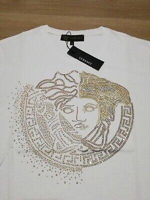 Medusa Crystal Embroidered Men T-Shirt White