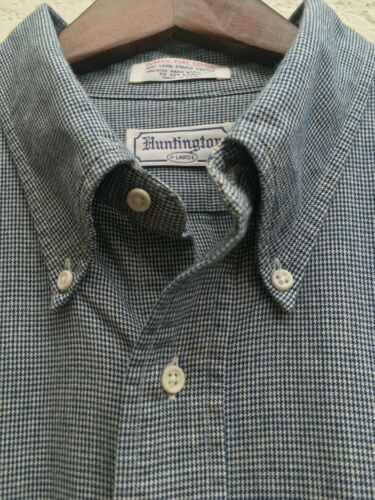 Vintage Huntington Navy Blue Houndstooth Button Down Shirt (XL) Ivy Trad Style