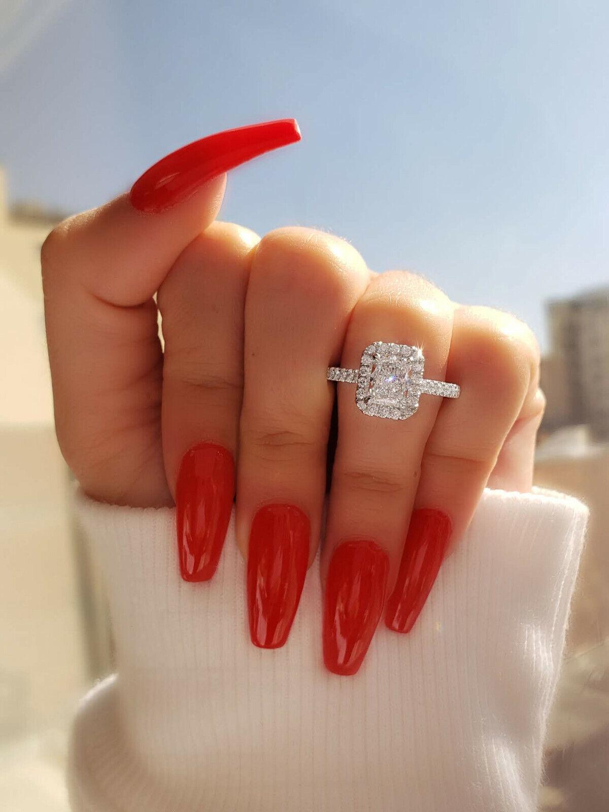 18K WG 1.80 Ctw Radiant Cut Diamond Eternity Halo Engagement Ring H,VS2 GIA 1