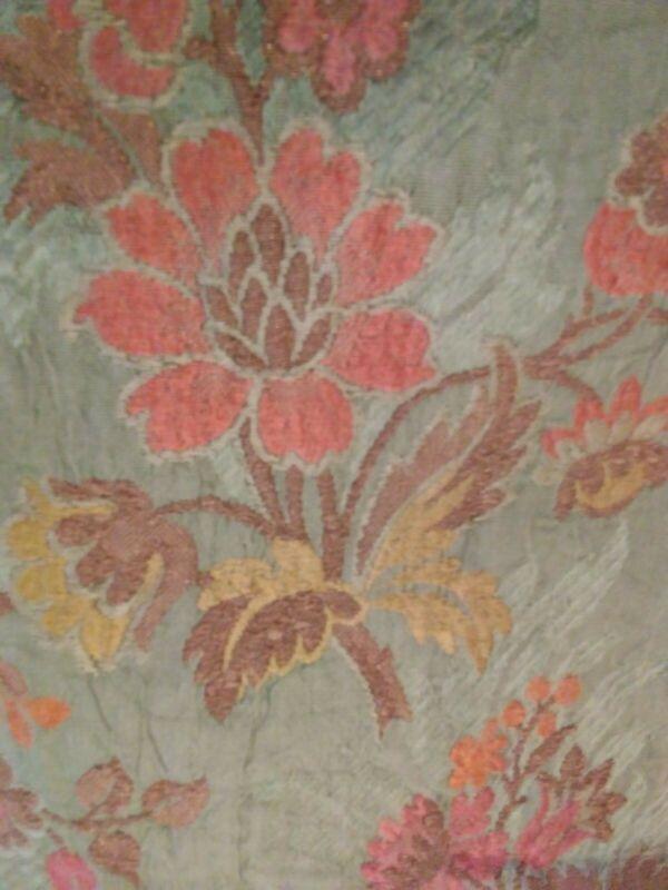 Antique Silk Metallic Fabric Drapery Panel Green Pink Yellow Copper Bronze