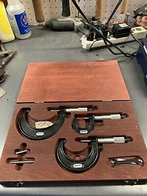 Starrett 436 Carbide Tipped Outside Vernier Micrometer Set 0-3 Wood Case .0001