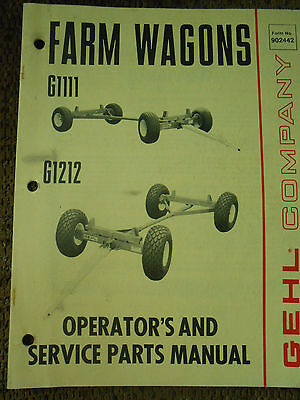 Gehl G1111 and G1212 Farm Wagons Operator's and Service Parts  Manual for sale  Lyndon