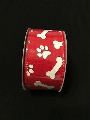 Red Wired Linen Paw Print Ribbon 2 1/2
