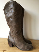 Tony Bianco Ladies Brown Leather Knee High Cowboy Style Boots Uk8 - tony bianco - ebay.co.uk