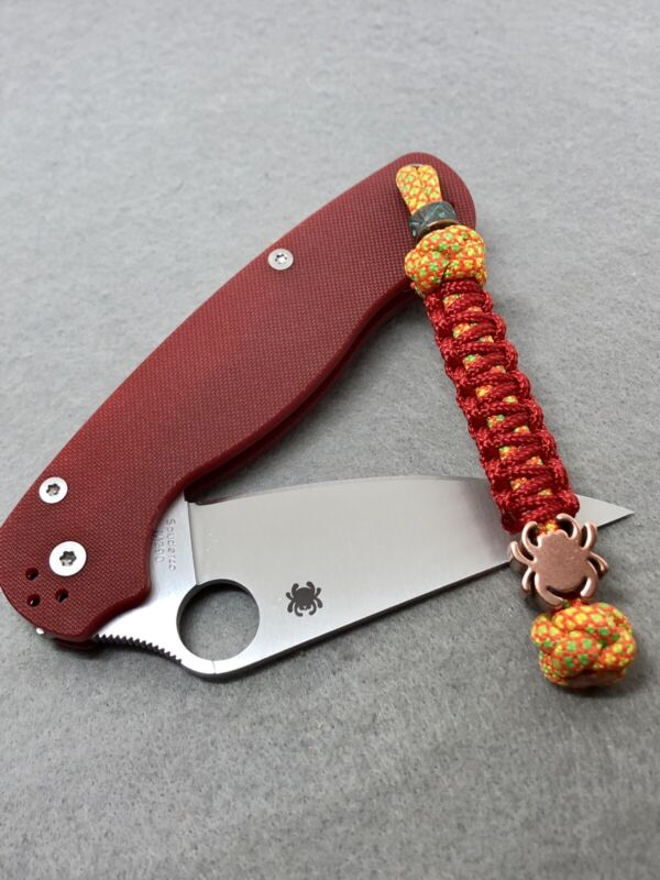 550 Paracord Combo Knife Lanyard Citrus Dream And Red With Copper Spyderco Bead
