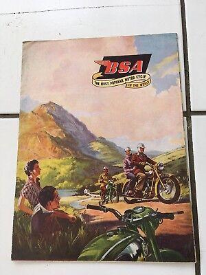 BSA motorcycles vintage large foldout 1955 brochure-bantam-etc -250-650cc scarce