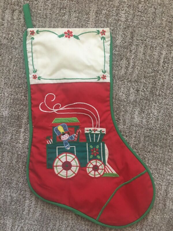 Vtg HOUSE OF HATTEN Christmas Stocking Embroidered Choo Choo TRAIN red green