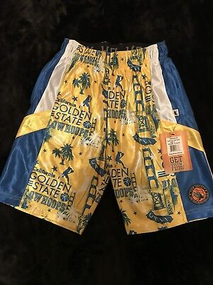 Flow Society Youth Basketball Shorts Golden State California Yellow Blue M